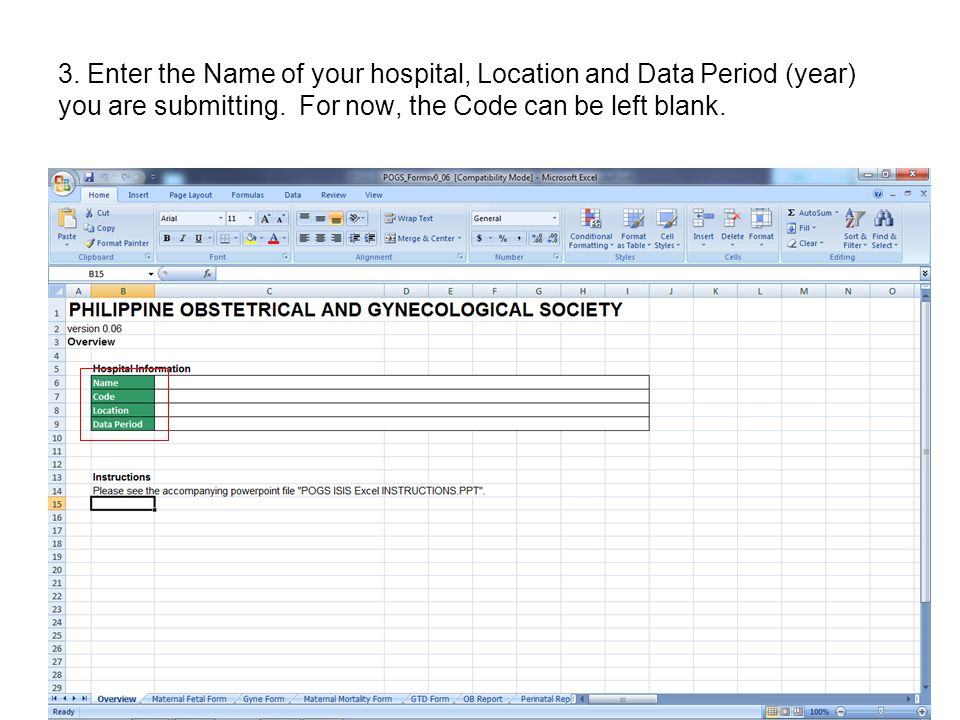 3. Enter the Name of your hospital, Location and Data Period (year) you are submitting.