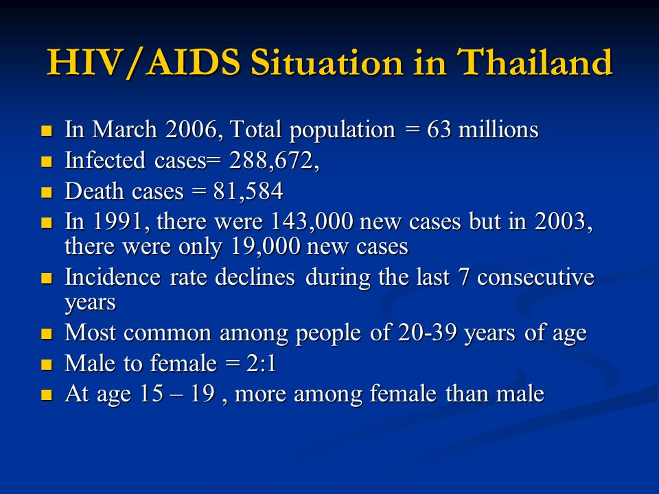 HIV/AIDS Situation in Thailand