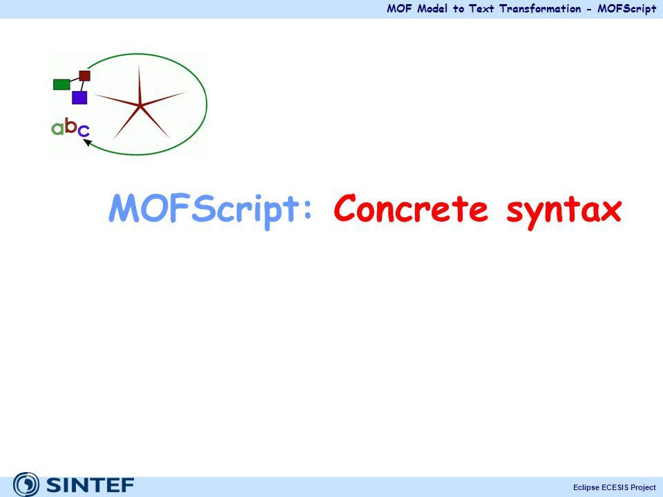 MOFScript: Concrete syntax
