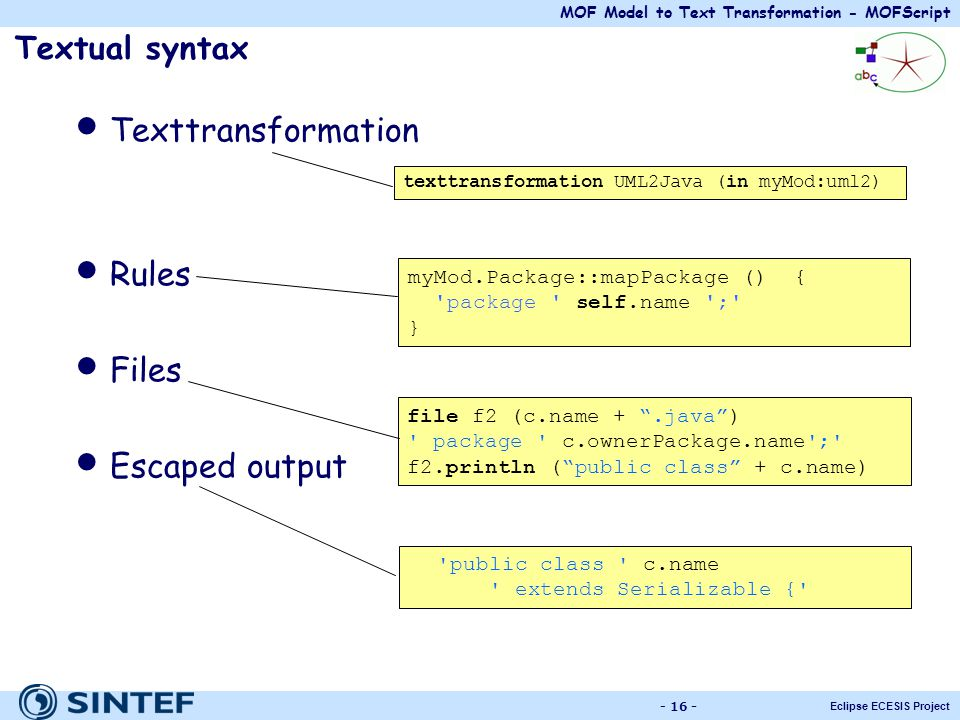 Texttransformation Rules Files Escaped output Textual syntax