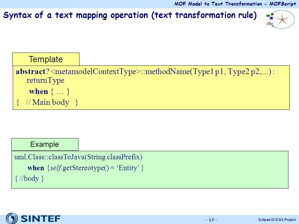 Syntax of a text mapping operation (text transformation rule)