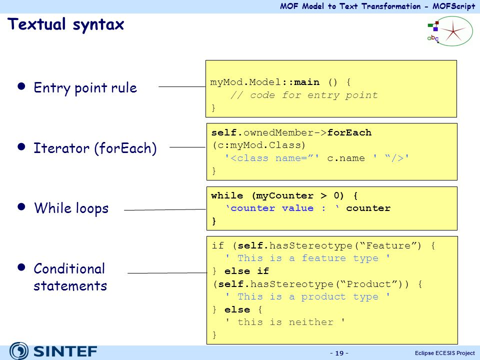 Textual syntax Entry point rule Iterator (forEach) While loops