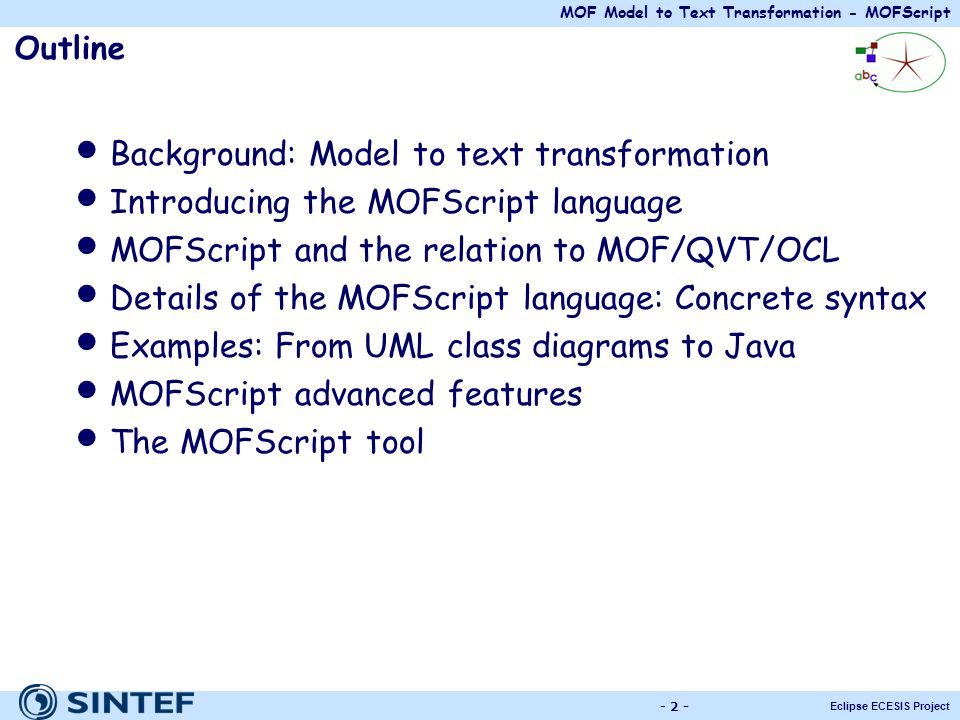 Background: Model to text transformation