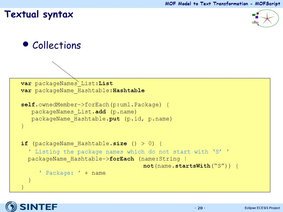 Collections Textual syntax var packageNames_List:List
