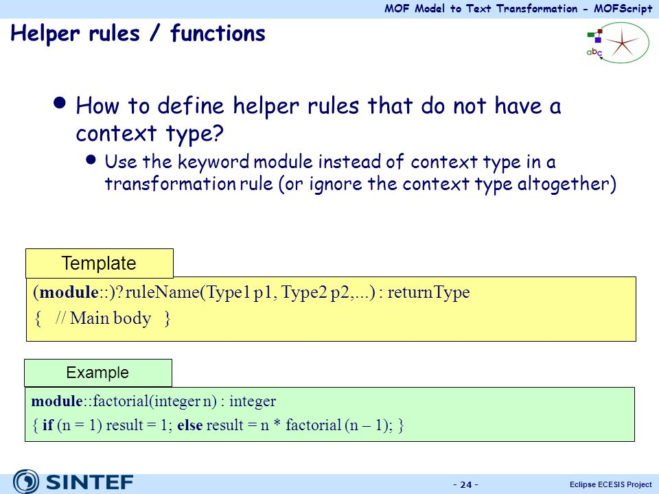 Helper rules / functions