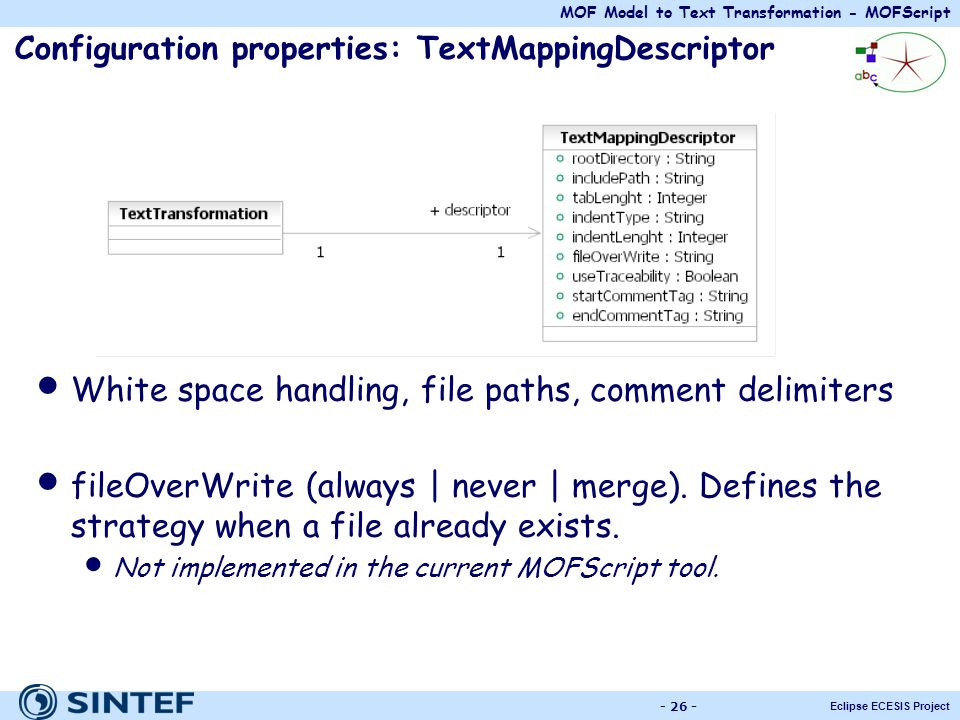 Configuration properties: TextMappingDescriptor