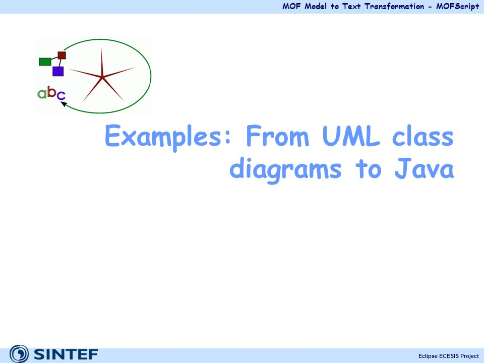 Examples: From UML class diagrams to Java
