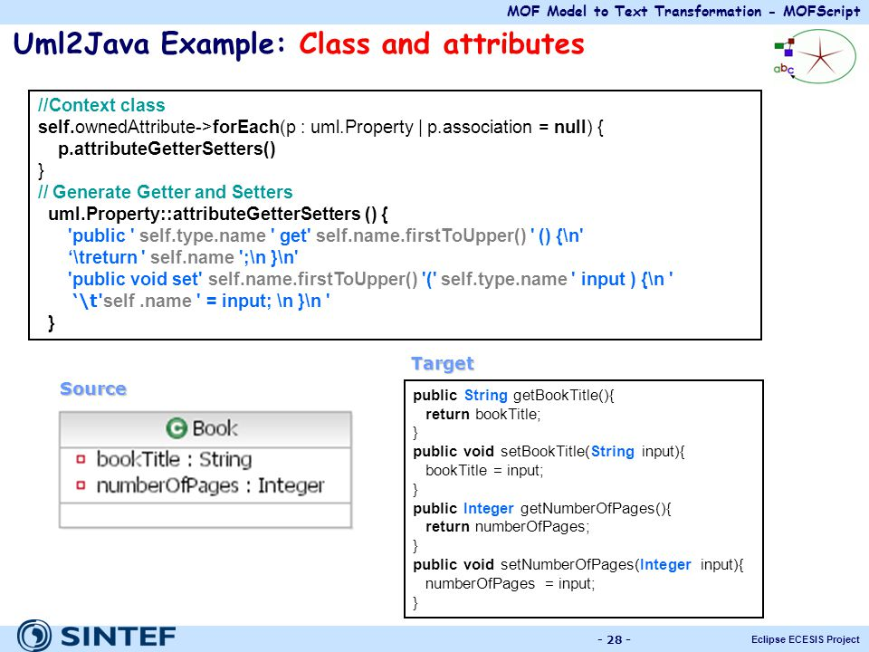 Uml2Java Example: Class and attributes