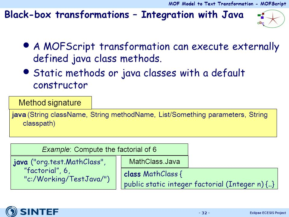 Black-box transformations – Integration with Java