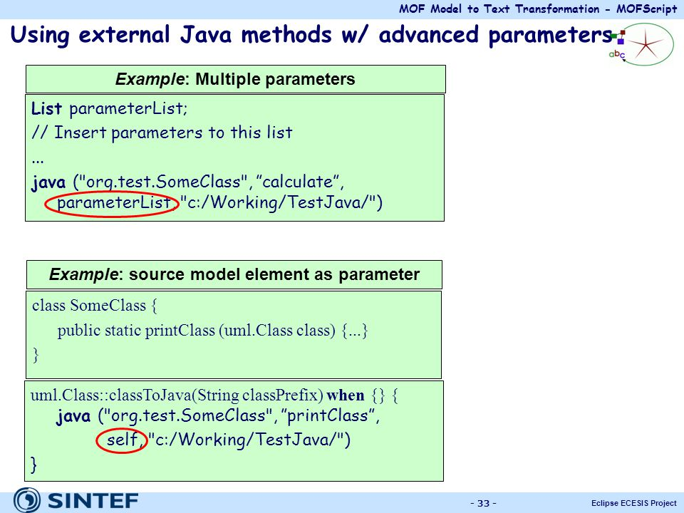 Using external Java methods w/ advanced parameters