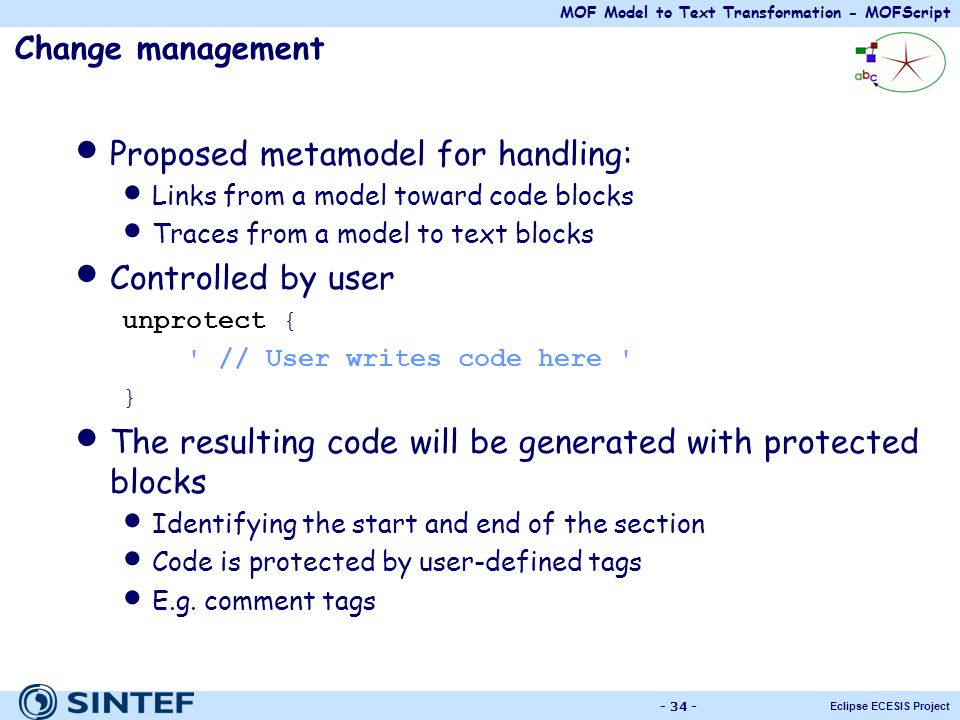 Proposed metamodel for handling: