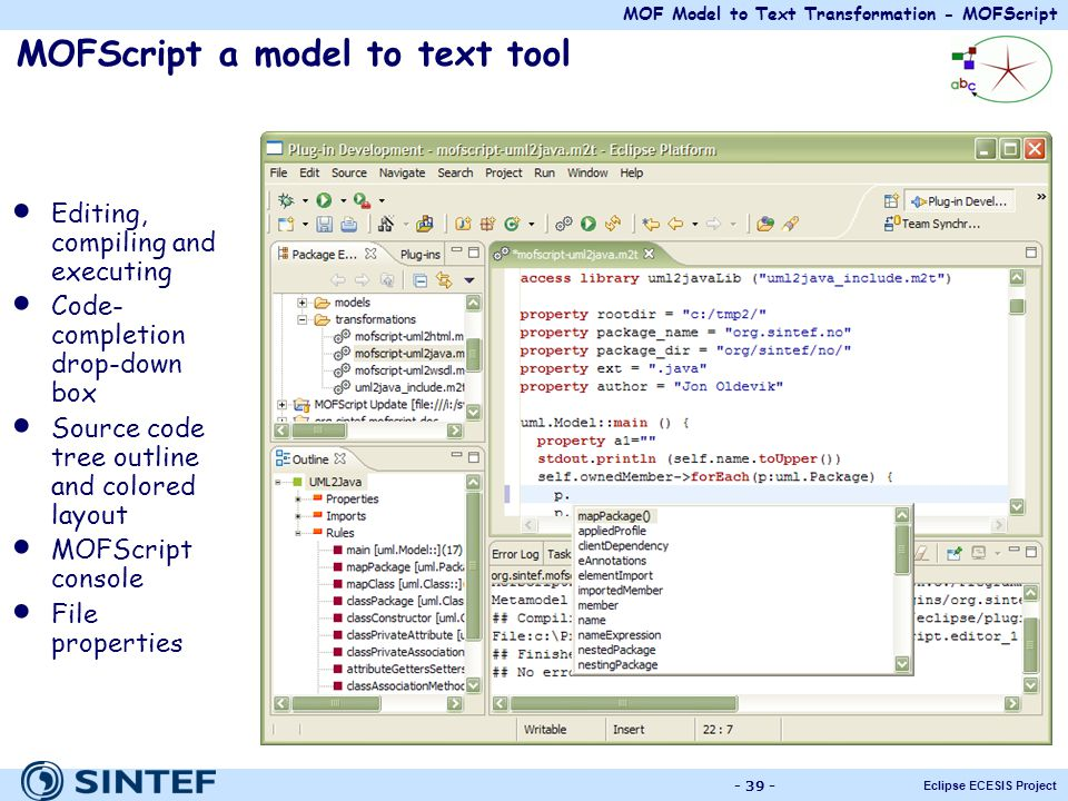 MOFScript a model to text tool