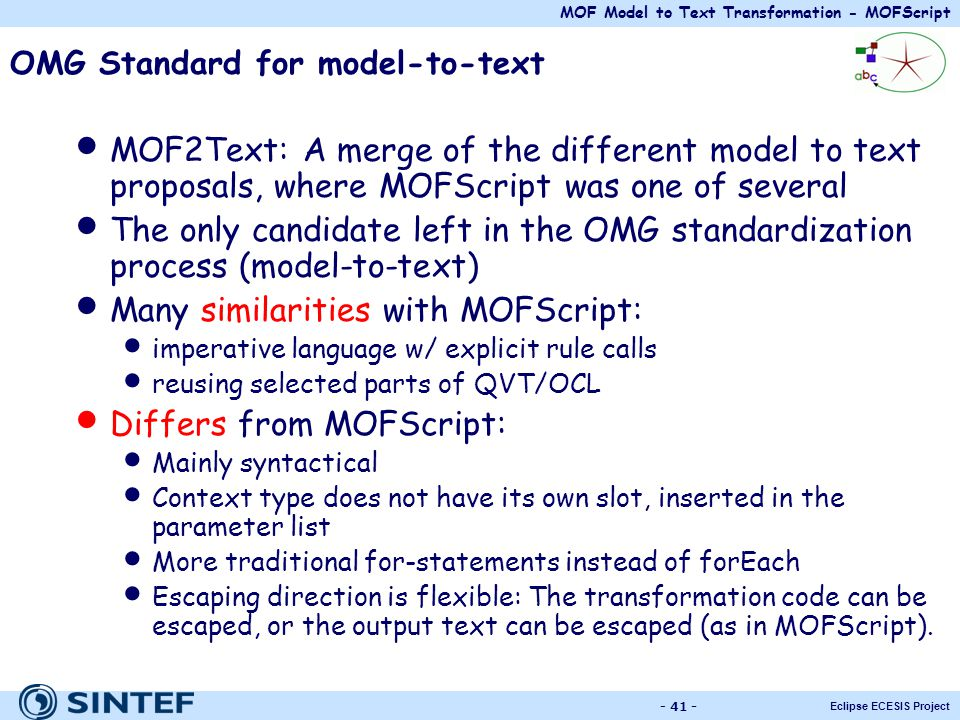 OMG Standard for model-to-text