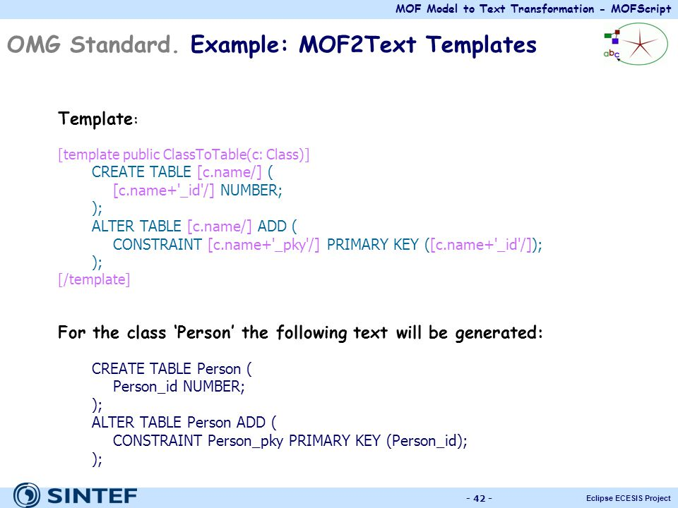 OMG Standard. Example: MOF2Text Templates