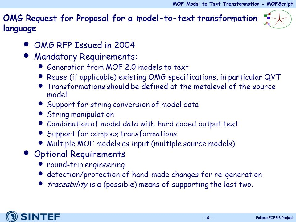 OMG Request for Proposal for a model-to-text transformation language