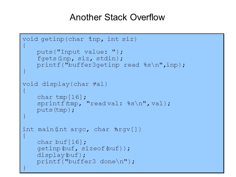 Another Stack Overflow