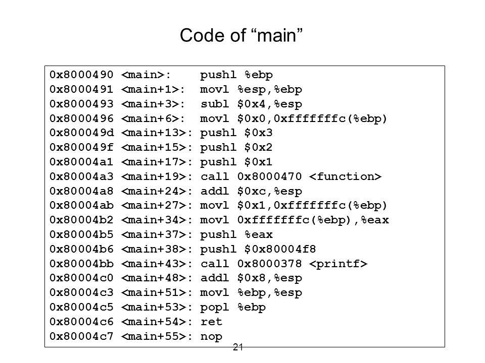 Code of main 0x8000490 <main>: pushl %ebp