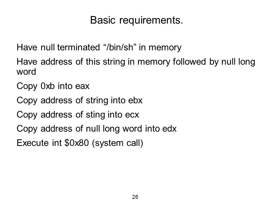 Basic requirements. Have null terminated /bin/sh in memory