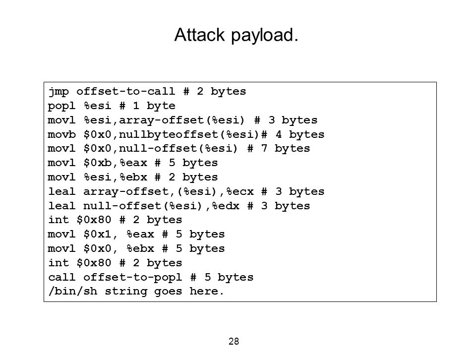 Attack payload. jmp offset-to-call # 2 bytes popl %esi # 1 byte