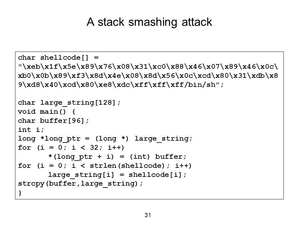 A stack smashing attack