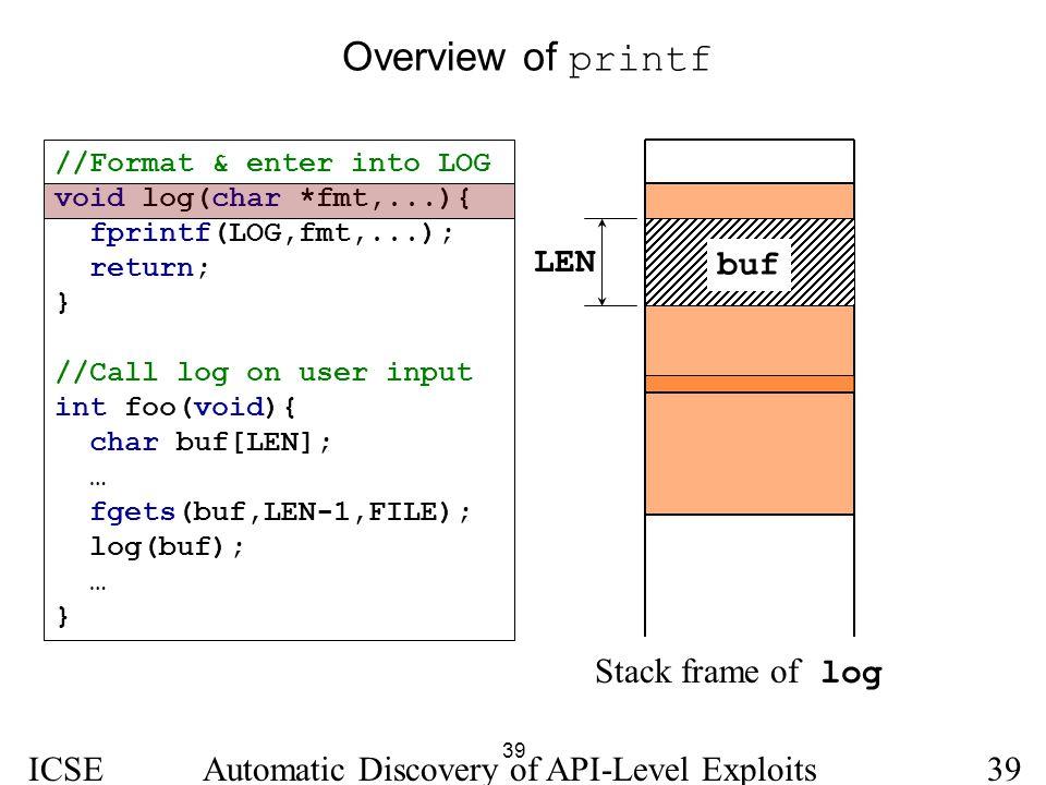 Overview of printf LEN buf Stack frame of log ICSE 2005
