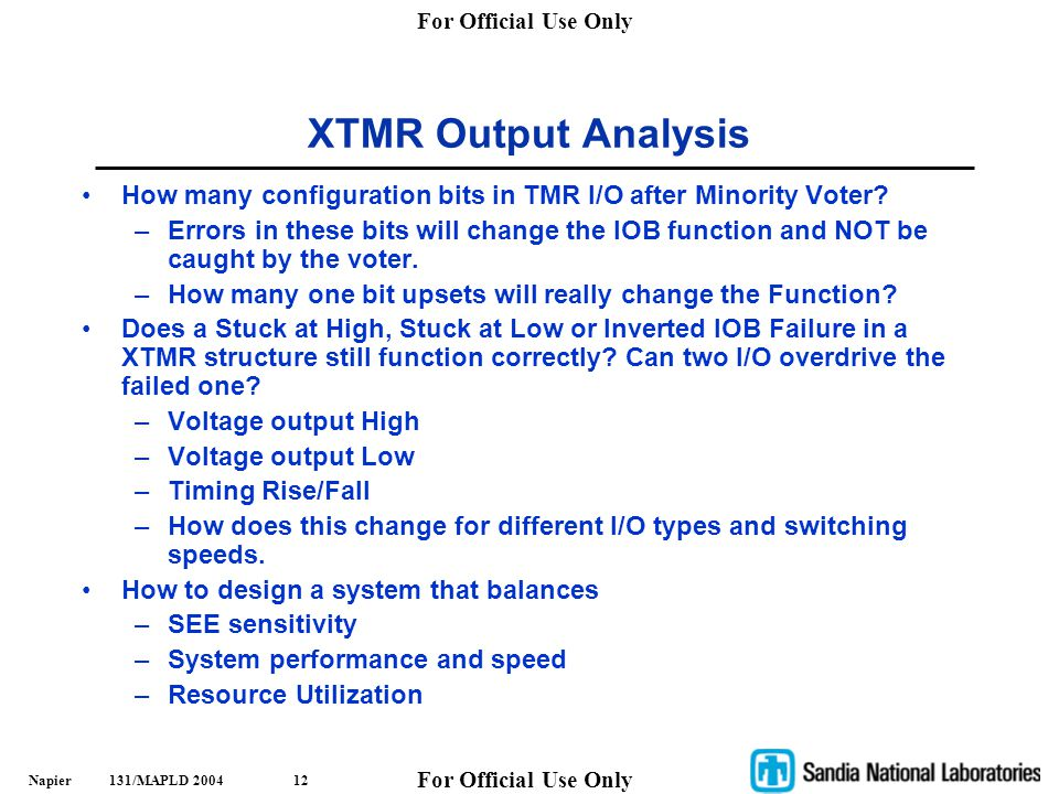 XTMR Output Analysis How many configuration bits in TMR I/O after Minority Voter