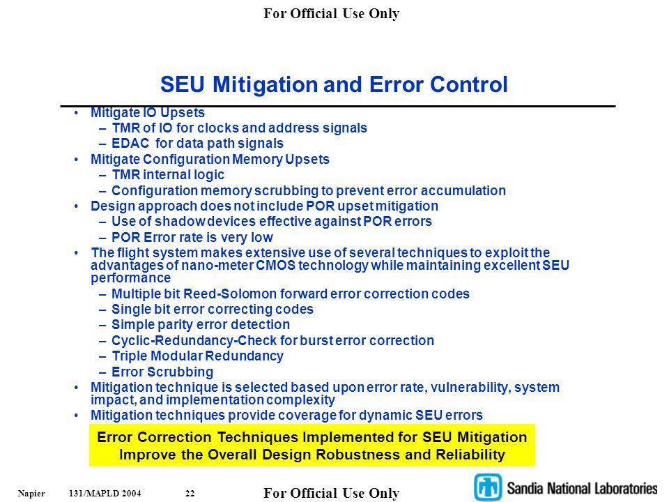 SEU Mitigation and Error Control