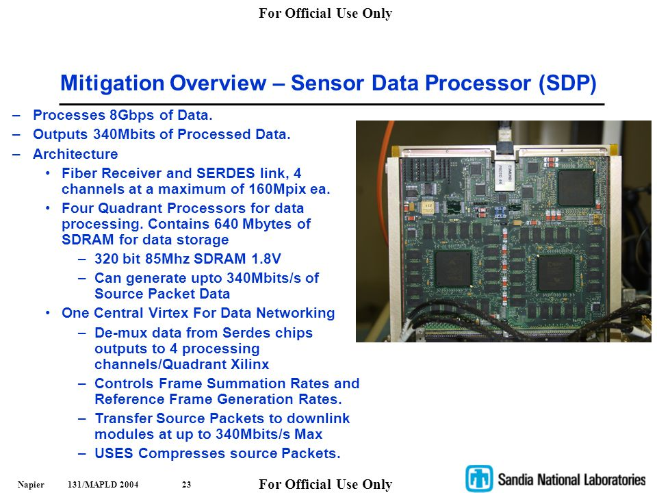 Mitigation Overview – Sensor Data Processor (SDP)