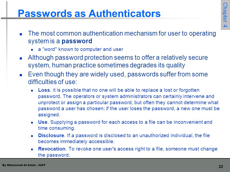 Passwords as Authenticators