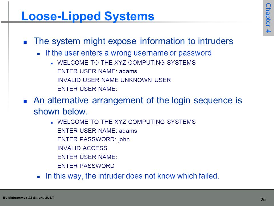 Loose-Lipped Systems The system might expose information to intruders