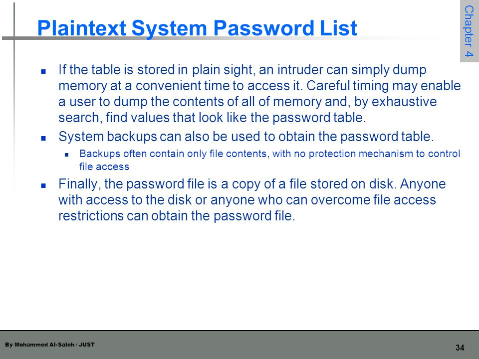 Plaintext System Password List