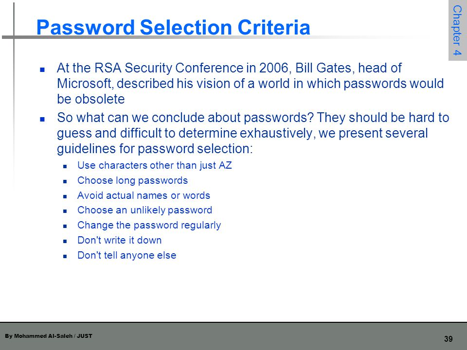 Password Selection Criteria
