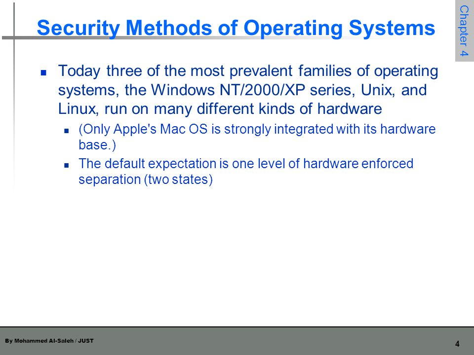 Security Methods of Operating Systems