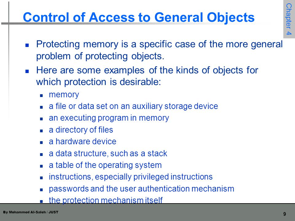 Control of Access to General Objects