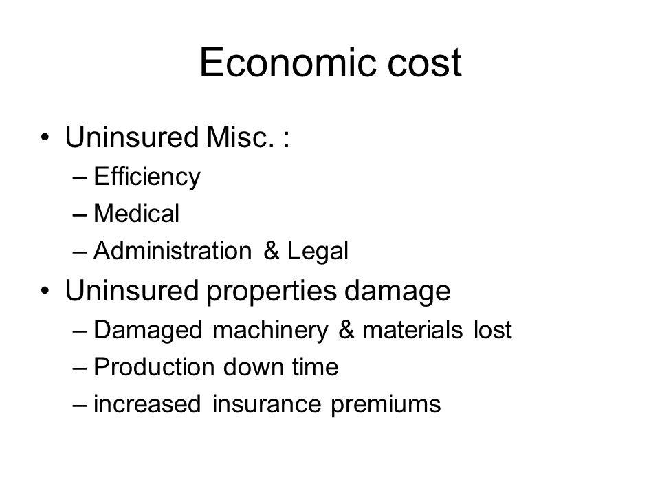 Economic cost Uninsured Misc. : Uninsured properties damage Efficiency