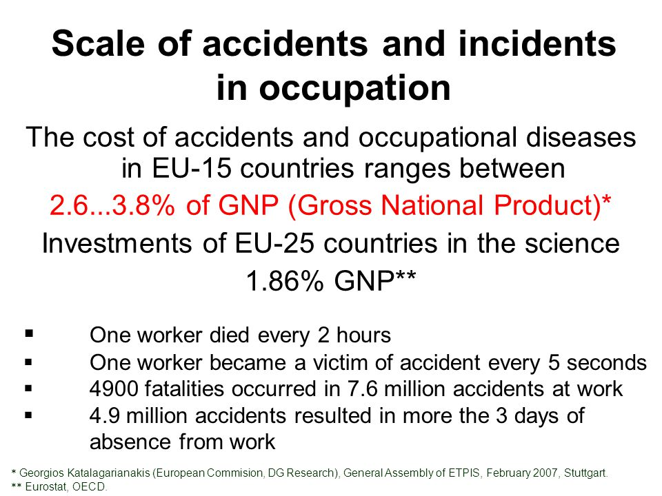 Scale of accidents and incidents in occupation