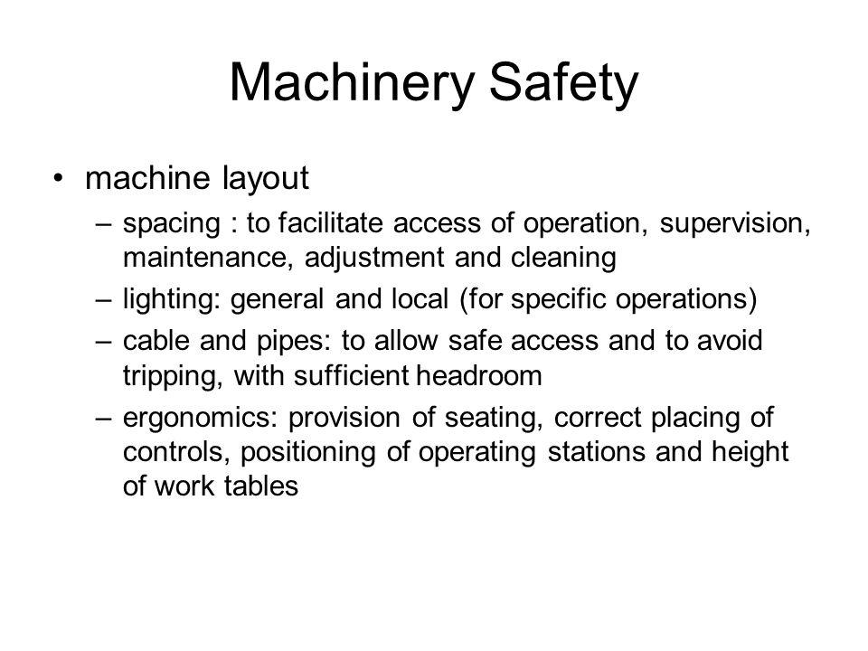 Machinery Safety machine layout
