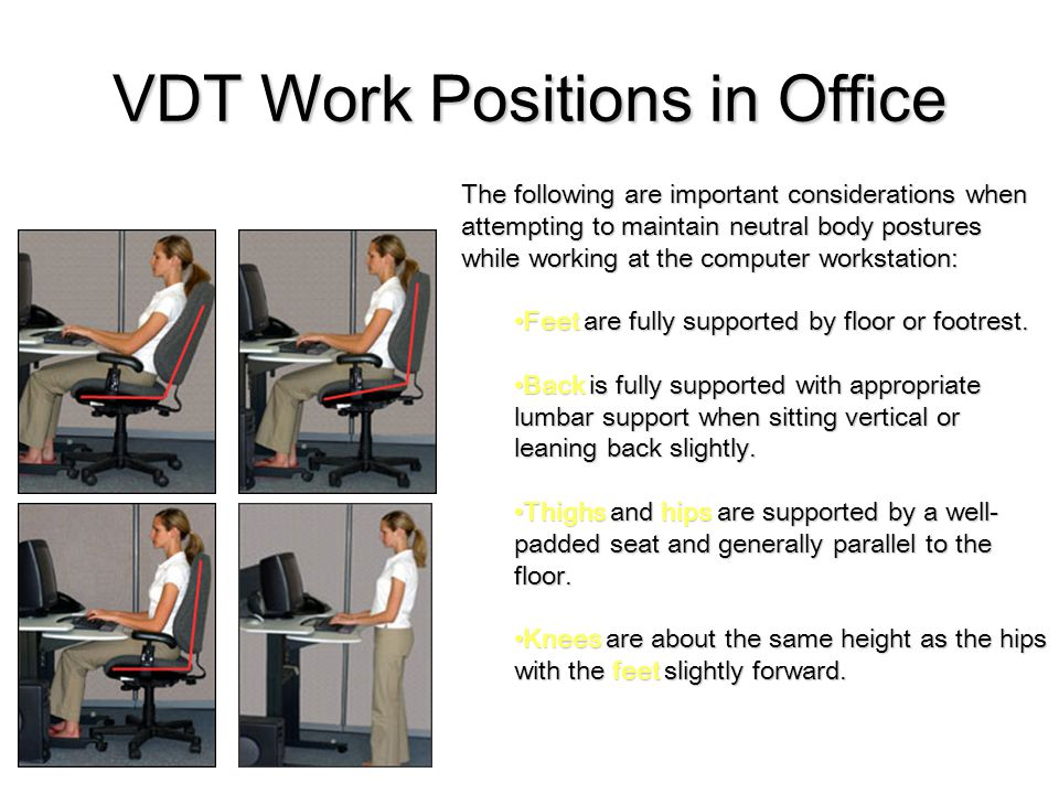 VDT Work Positions in Office