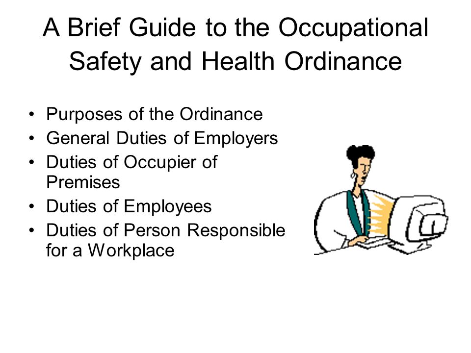 occupational safety and health and safety About occupational safety and health occupational safety and health (osh), also commonly referred to as occupational health and safety (ohs) or workplace health and safety (whs), deals with issues affecting the safety, health, and welfare of people engaged in work or employment.