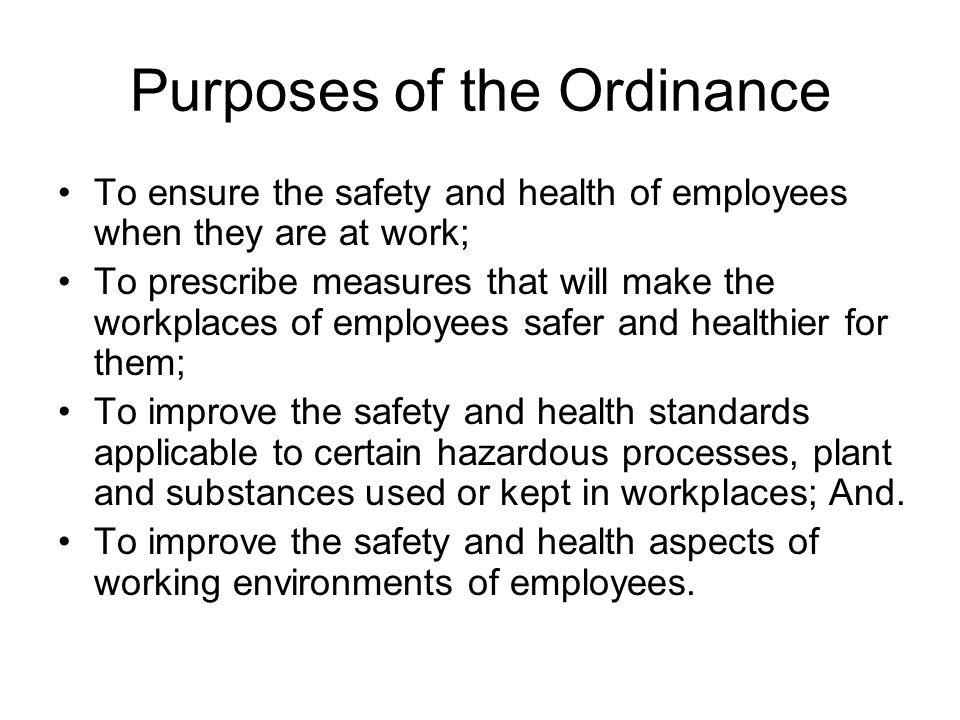 Purposes of the Ordinance