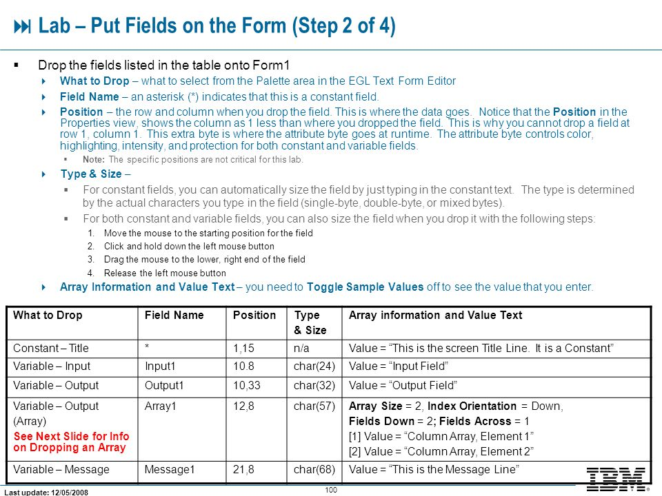  Lab – Put Fields on the Form (Step 2 of 4)