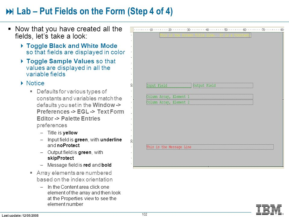  Lab – Put Fields on the Form (Step 4 of 4)