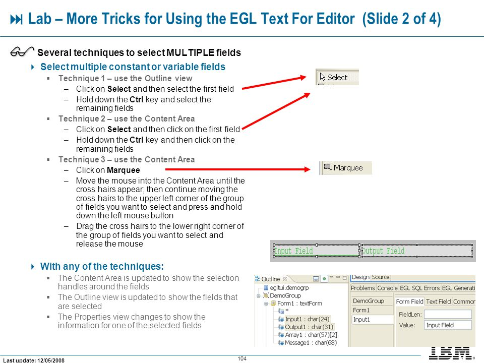 Lab – More Tricks for Using the EGL Text For Editor (Slide 2 of 4)