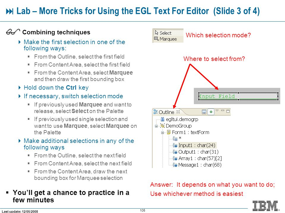  Lab – More Tricks for Using the EGL Text For Editor (Slide 3 of 4)
