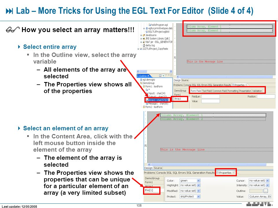  Lab – More Tricks for Using the EGL Text For Editor (Slide 4 of 4)