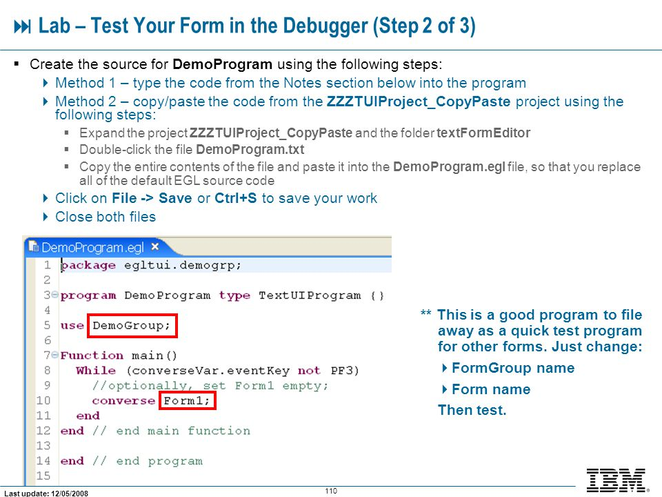  Lab – Test Your Form in the Debugger (Step 2 of 3)