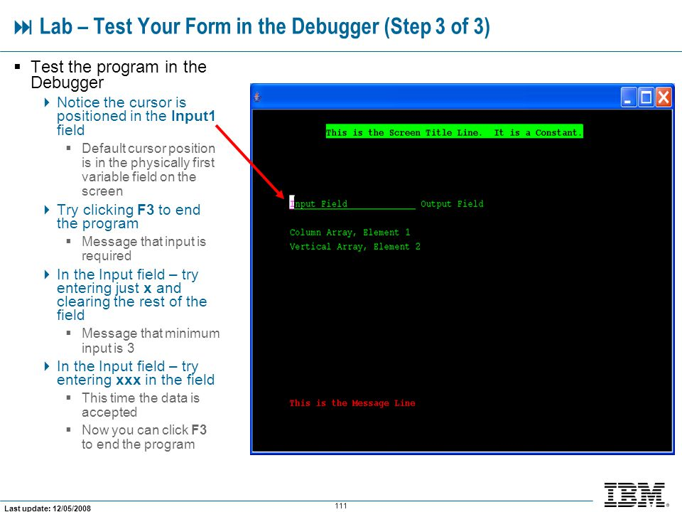  Lab – Test Your Form in the Debugger (Step 3 of 3)