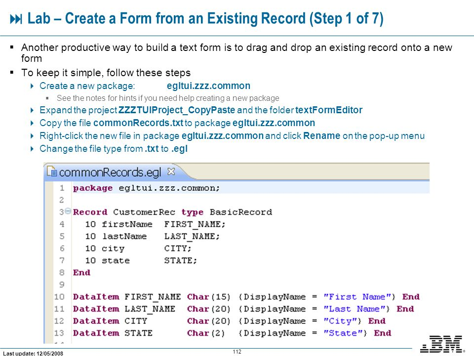  Lab – Create a Form from an Existing Record (Step 1 of 7)