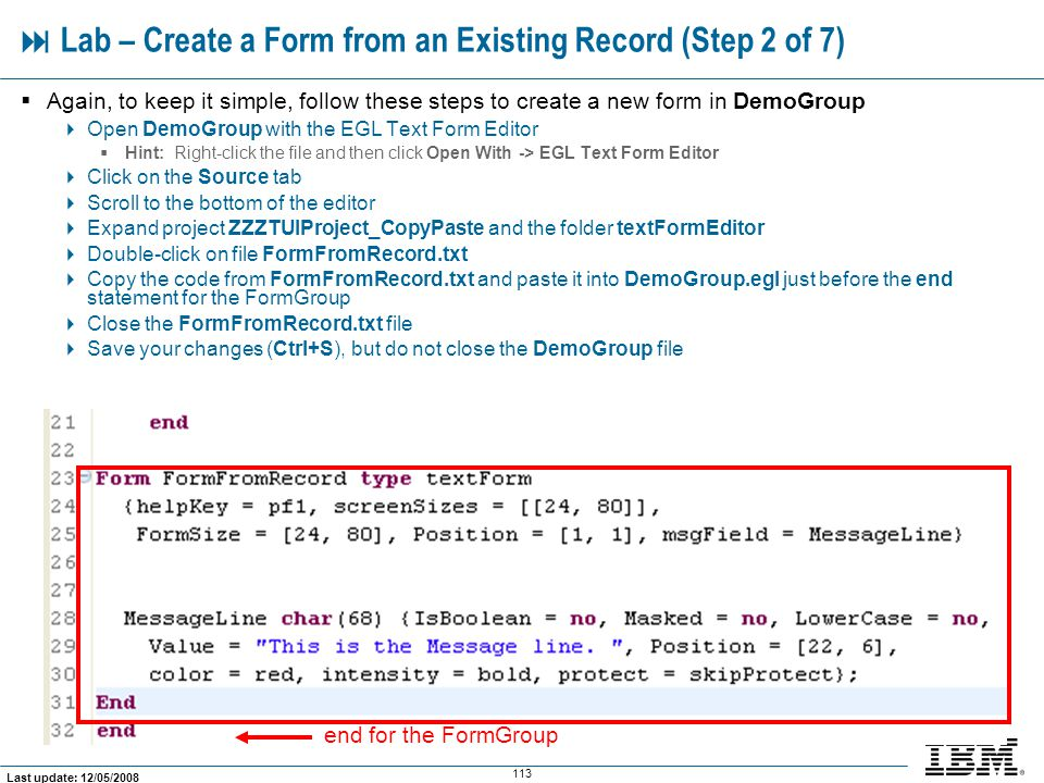  Lab – Create a Form from an Existing Record (Step 2 of 7)